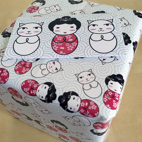 Kokeshi Flowers wrapped gift