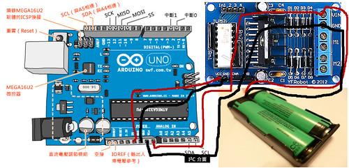 鋰電池供電給 Arduino 與 L298N