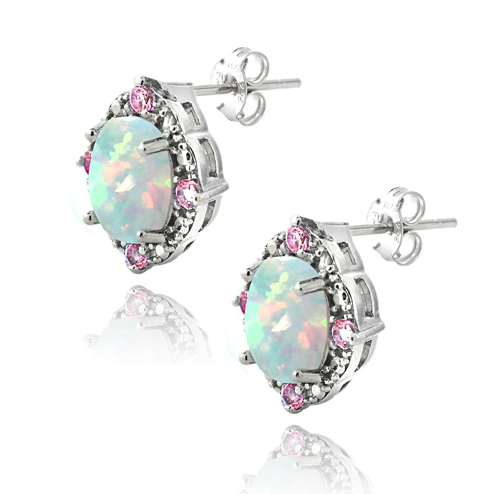 925 2.86ct Created Opal & Pink Sapphire Diamond Accent ...