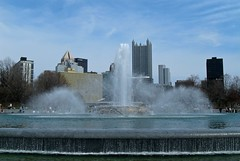 Point State Park Fountain Against Downtown