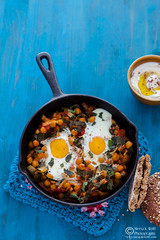 Baked Spiced Chickpeas and Chard with Eggs -0186