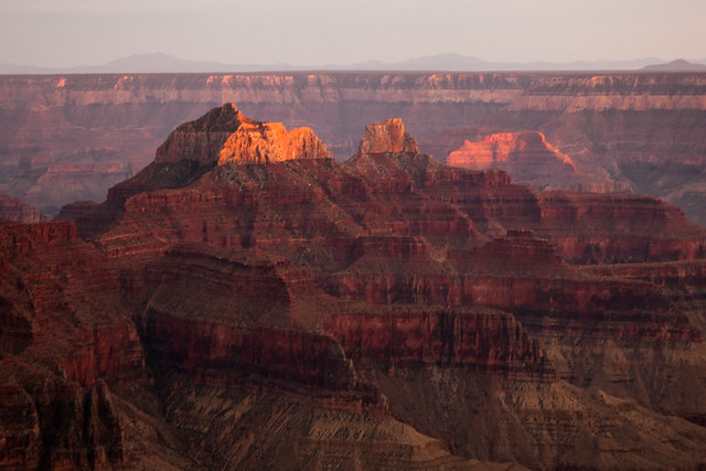 Temple, North Rim of Grand Canyon, at Sunset