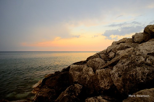 sunset lake seascape storm color beach nature clouds sand rocks waves michigan great lakes polarizer nkon d5100