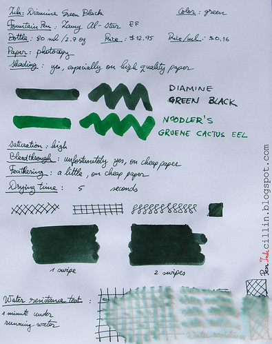 Diamine Green Black on photocopy