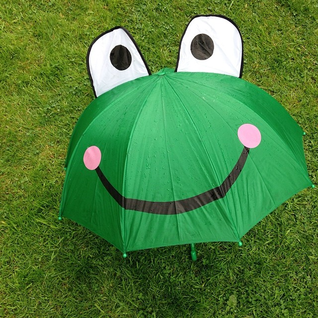 School fete today. It poured and all three if us had to stand under this! #capturingcolour #green #umbrella