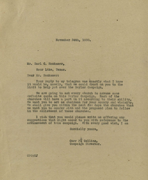 Letter from Carr P. Collins to Earl C. Hankamer regarding the Greater Baylor Campaign, 1930