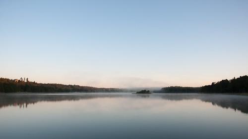 mist lake sunrise island aland hjörto