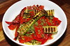 Grilled courgette and pepper salad