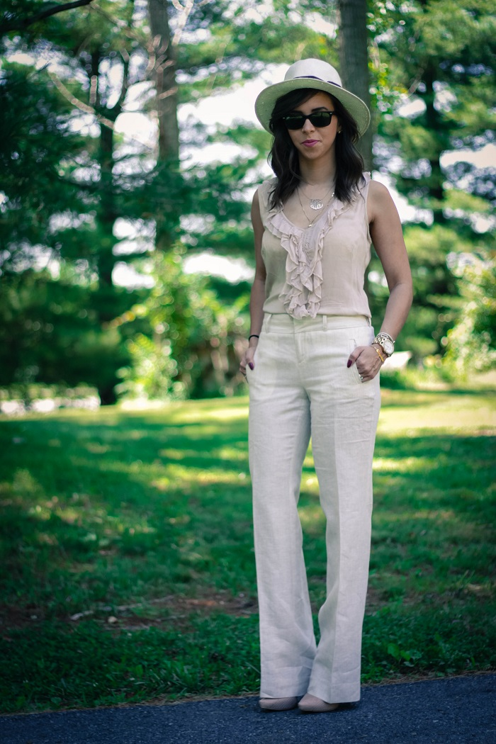 va darling. dc blogger. virginia personal style blogger. virginia blogger. linen wide leg pants. nude top. panama hat. nude heels. summer work outfit. 1
