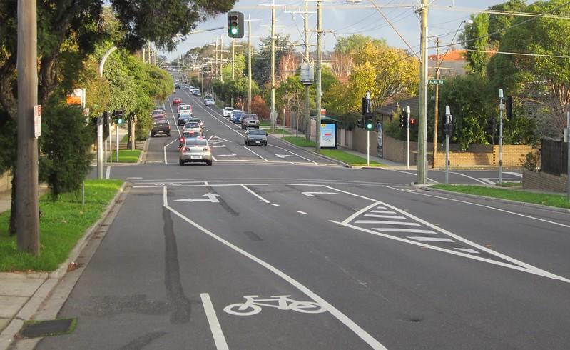 Bike lanes at intersection of Alma and Kooyong Roads, Caulfield North