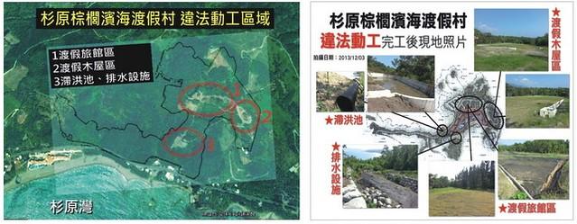 左,從空照圖可見違法動工裸露地(黃苑蓉繪製) 右,棕櫚海濱度假村違法動工位置(莊詠婷繪製)