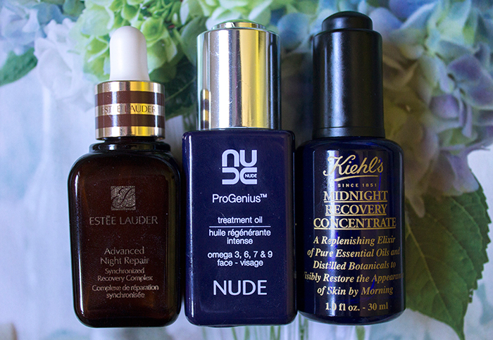 Overnight Oils: Estee Lauder Advanced Night Repair, NUDE ProGenius Treatment Oil, Kiehls Midnight Recovery Concentrate