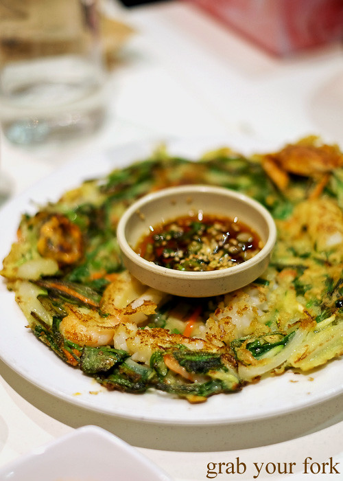 Pajeon seafood pancake at The Sparrow's Mill, Sydney