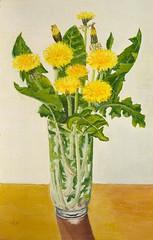 Dandelions in a vase