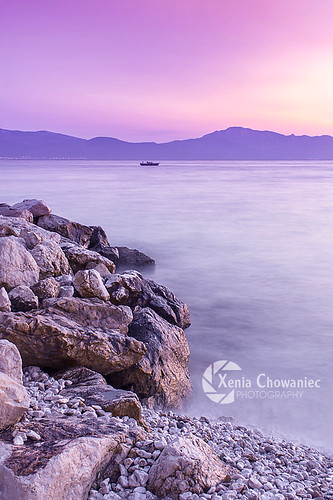pink sunset sea sky water boat rocks purple croatia