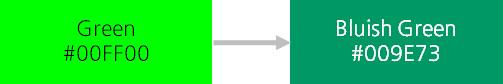 초록색에서 청록 계열로 채도 변경을 나타내는 이미지