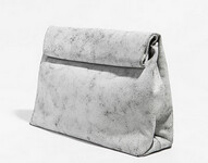 ZARA LEATHER CRACKLED LEATHER CLUTCH
