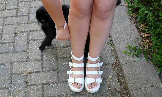 Cute Black Cat White Platform Sandals