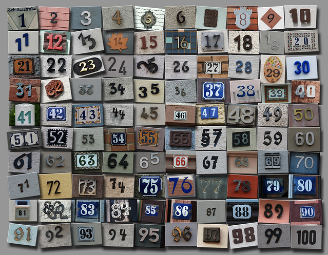 100 pictures of house numbers