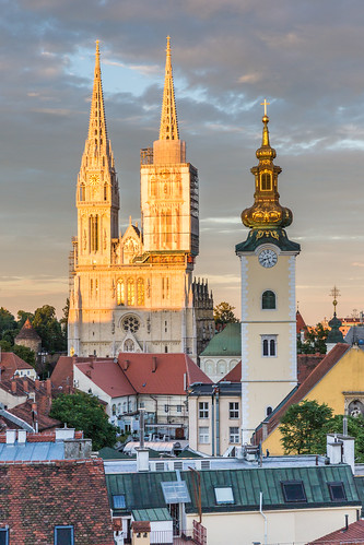 sunset cloudy croatia zagreb gradec uppertown 500px zagrebcathedral neilbirchall zagrebuppertown