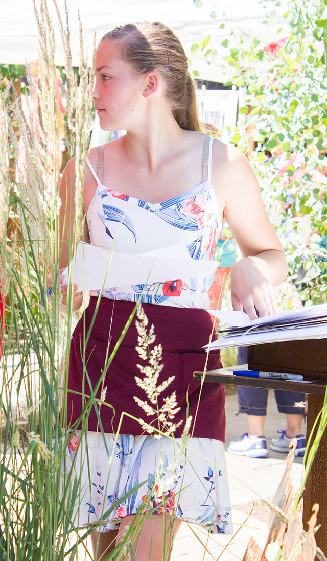 beautiful waitress, floral sundress