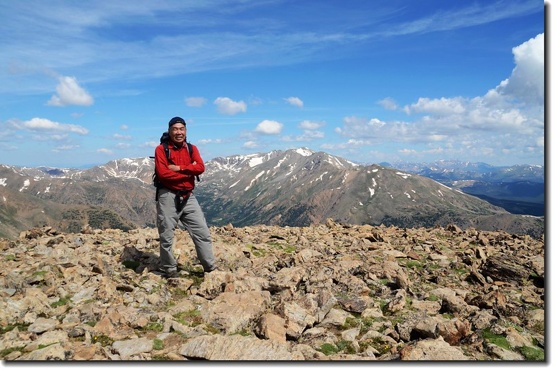 Me at the 13,900' point, background us Mt. Massive