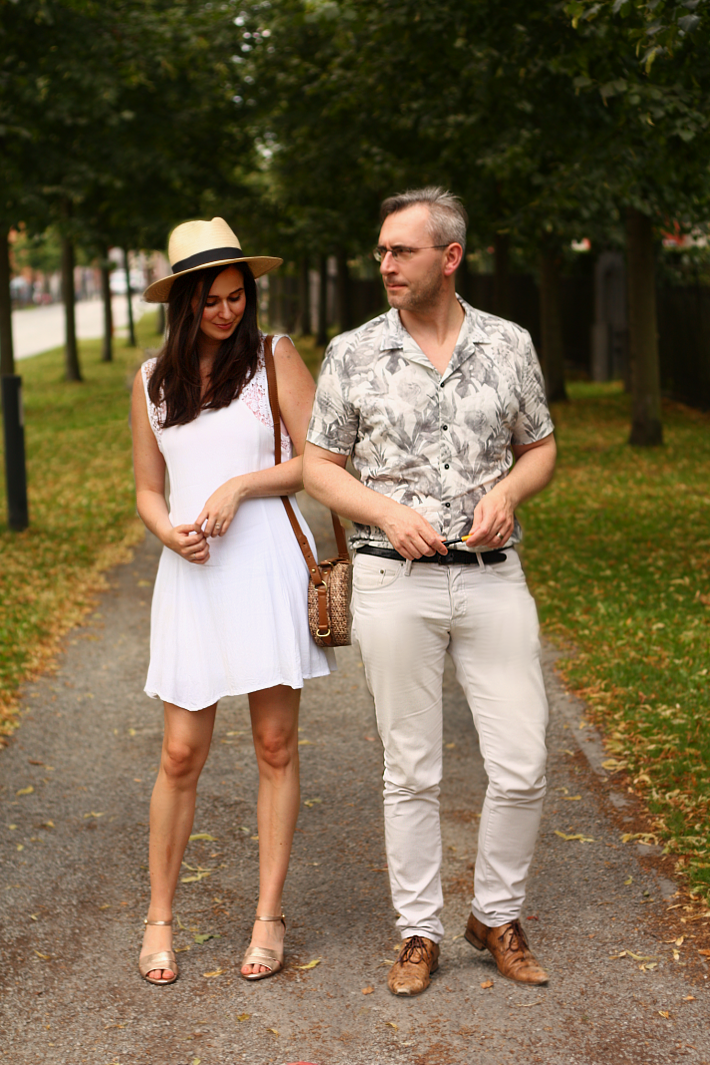 couple outfit white summer hawaiian shirt