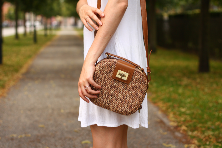 white dress straw box bag