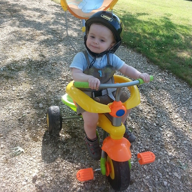 LOVES his bike.