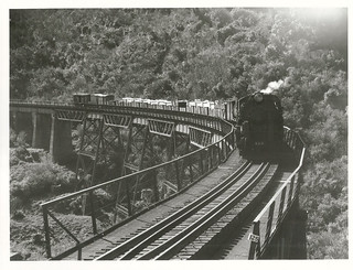 An express goods train on the curved Hapuawhenua Viaduct, one mile north of Ohakune