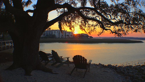 beach sand chairs scenic water trees hiltonheadisland southcarolina sunset chadsparkesphotography disneyshiltonheadislandresort