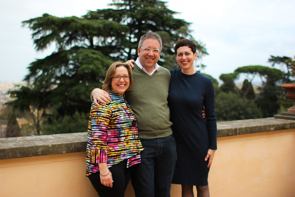 From left: Susan Van Sickle; Fred Van Sickle, vice president of alumni affairs and development; and Laura Spitz, vice provost for international affairs, at Villa Aurelia.  photo / Jessica del Mundo