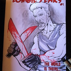 Amazing #sketchcover by Jude Millien for #zombie years #ink #sketch at Midnight Sandwich here @cinebistro tonight till 10! #miami #undead #comics