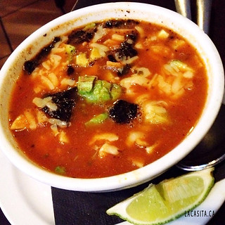 Best tortilla soup in town at La Casita Gastown in Vancouver BC