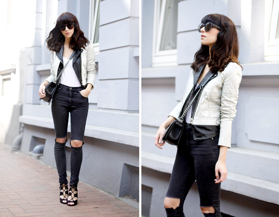 Muubaa cracked leather biker jacket Cheap Monday ripped jeans DIY Zara heels Chanel Le Boy bag ASOS Celine sunglasses outfit CATS & DOGS Ricarda Schernus fashion blogger 2