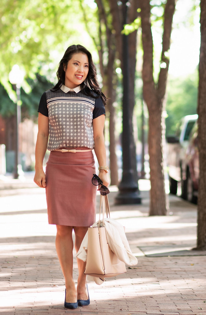 cute & little blog | petite fashion | navy pink tile print, pink pencil skirt, pink bow belt | spring outfit