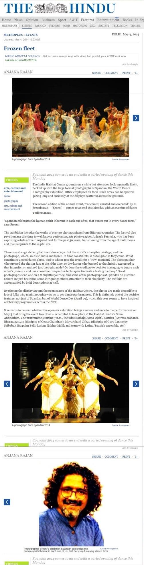 SPANDAN 2014 - The Hindu Article by Ms. Anjana Rajan