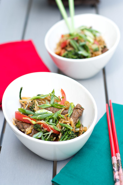 Beef and Broccolini Stir Fry with Rice Noodles