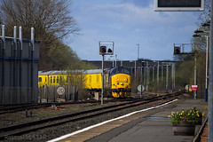 37419 rounding the curve off the Barassie branch at Kilmarnock working Network Rail Carlisle - Mossend Test Train 3Q15  14/04/14...