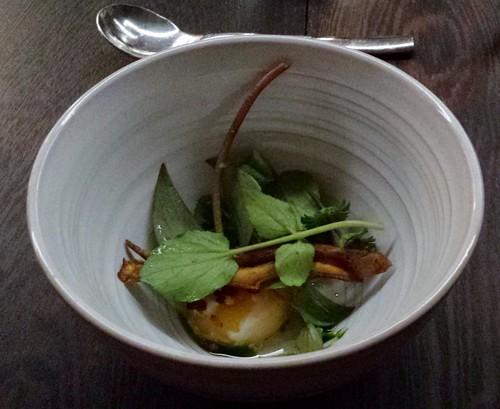 Wild nettles, crispy potato skin, poached egg