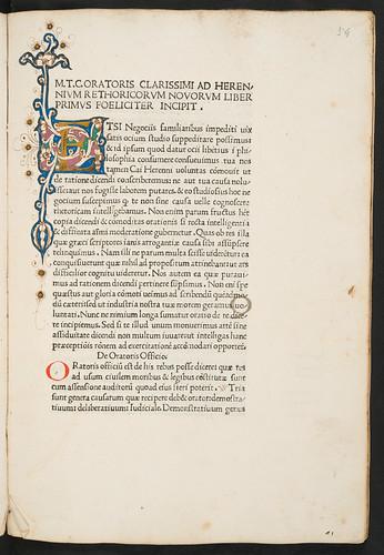 Illuminated initial in Cicero, Marcus Tullius [pseudo-]: Rhetorica ad C. Herennium
