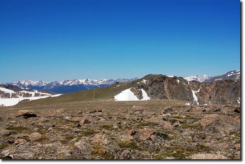 Bighorn Flats are seen looking NW from Flattop