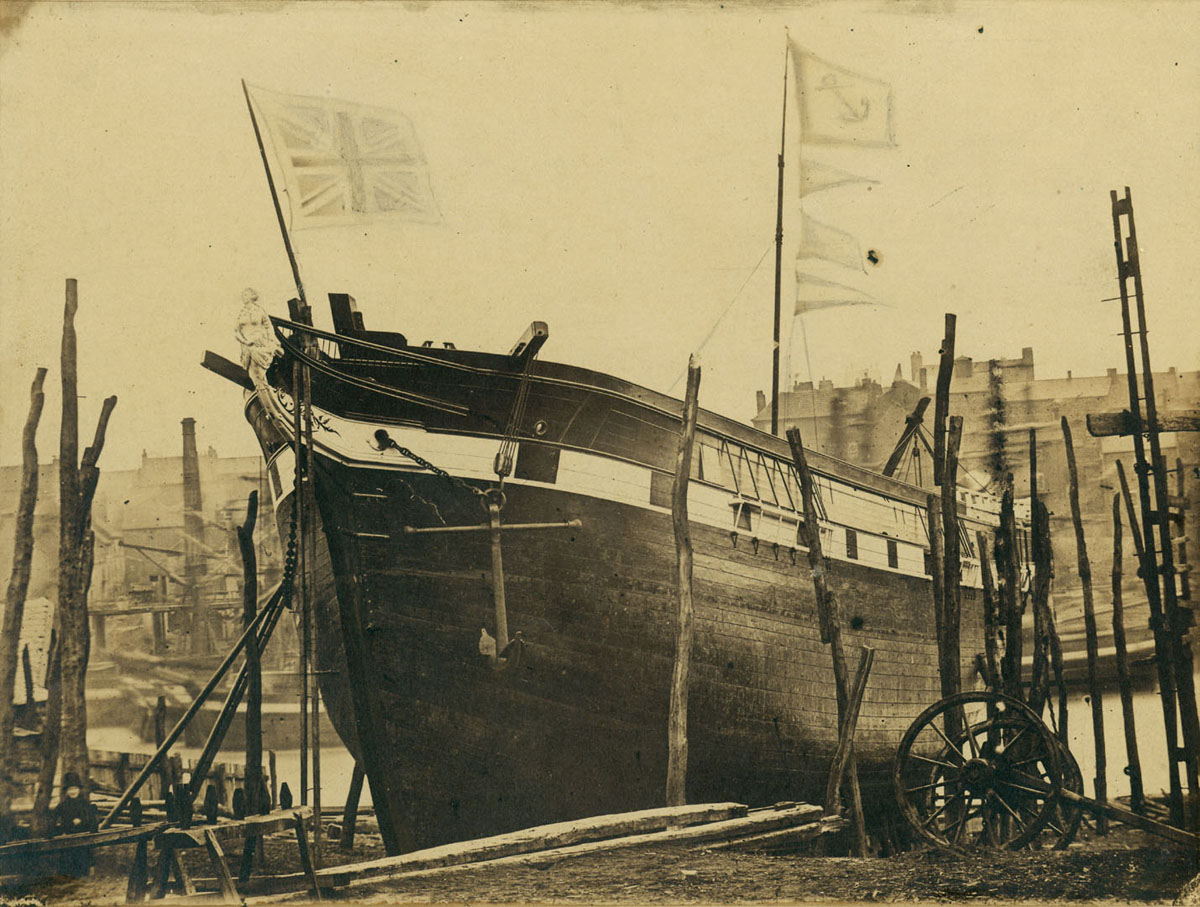 Early view of barque launched on the River Wear