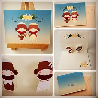 Sock Monkey Hawaiian Wedding Pop-up Card