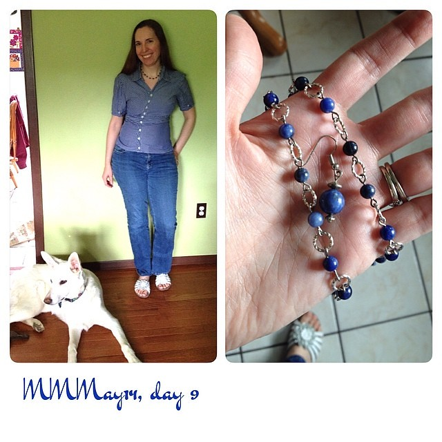 Blue Friday! Me-mades: refashioned shirt, necklace and earrings. Thrifted jeans, Array sandals, Mom's dog. #mmmay14