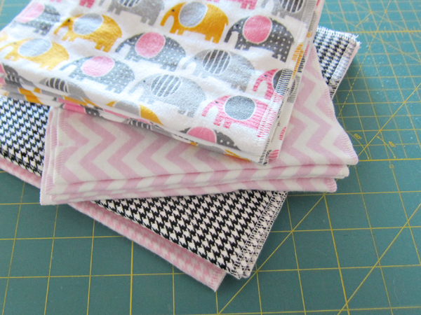 DIY double sided burp cloths