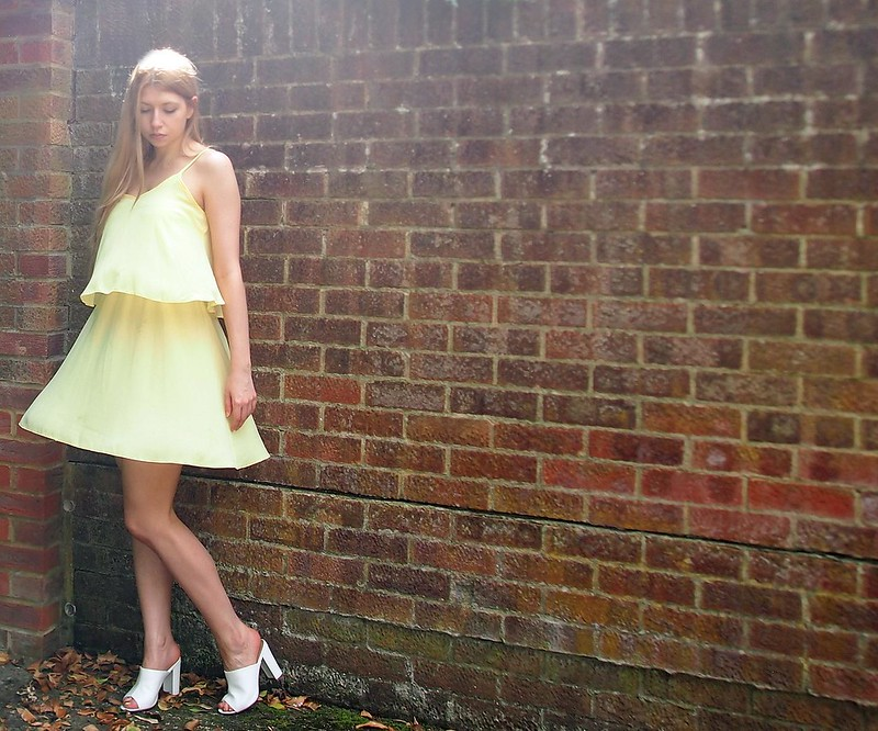 Primark, Yellow Dress, Sundress, Layered, Lemon, Pastel, New Look, White Open Toe Block Heel Mules, '90s, SS14, How to Wear, Styling Inspiration, Outfit Ideas, UK Fashion Blog, London Style Blogger, Sam Muses