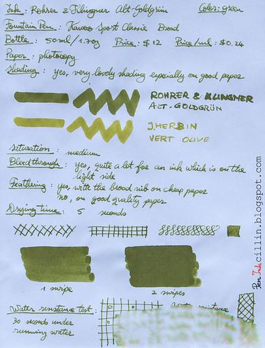 Rohrer & Klingner Alt-Goldgrun on photocopy