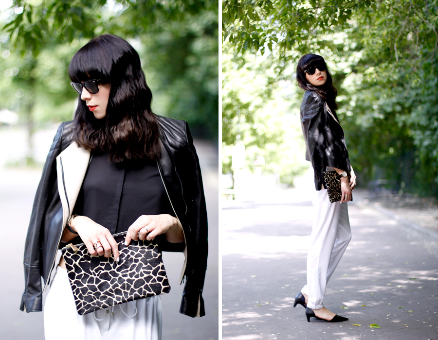 JOOP! look outfit sporty white jogging pants leather jacket soft summer spring outfit ootd CATS & DOGS fashion blog berlin 5