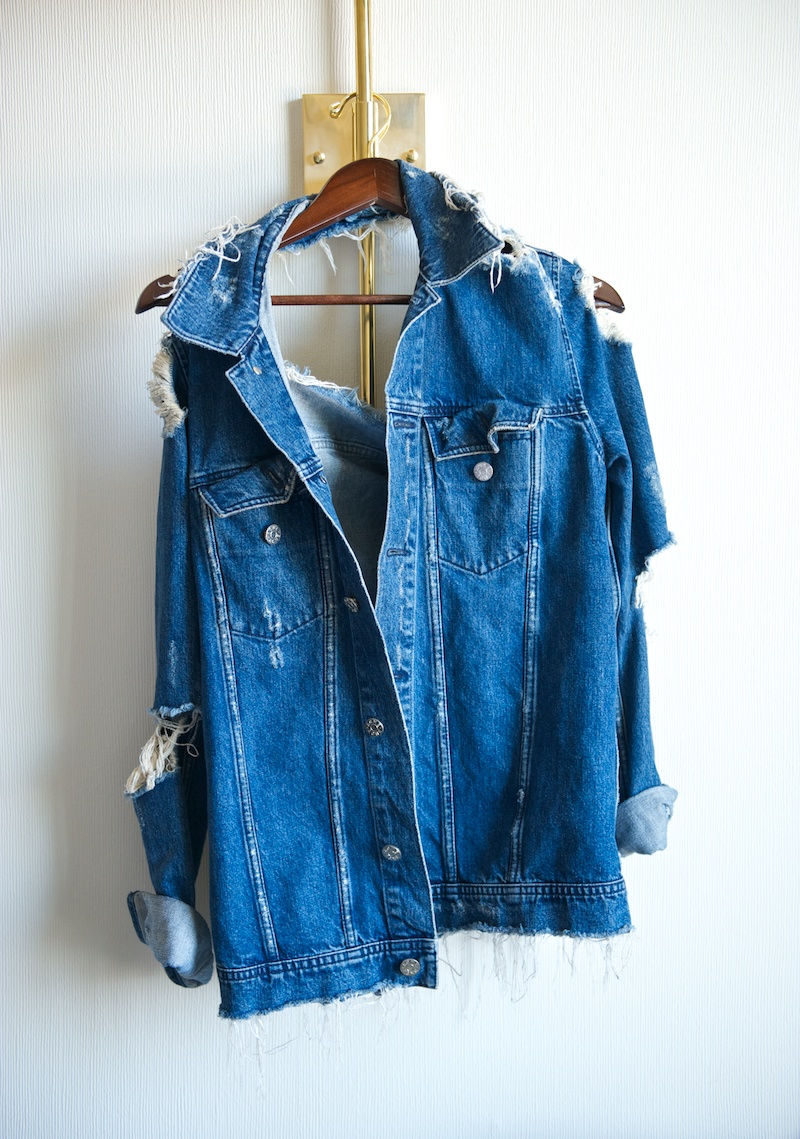 ripped denim jacket
